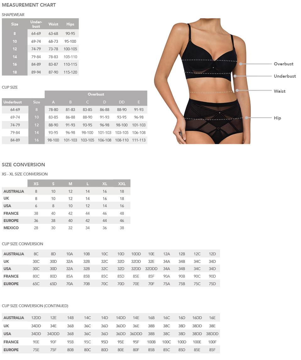 Size chart nancy ganz size guide womens shapewear and swimwear size conversion chart nvjuhfo Gallery